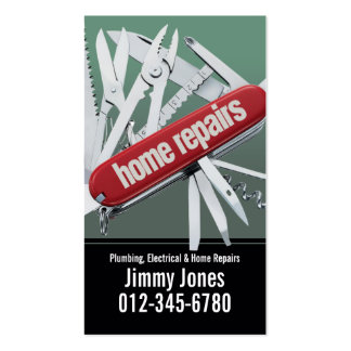 Swiss Army Knife Home Repairs Grey Business Card