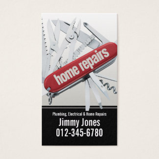 Swiss Army Knife Home Repairs White Business Card