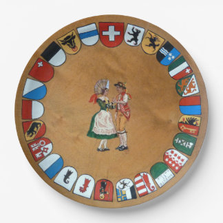 Swiss cantons and costumes paper plate