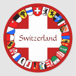 Swiss cantons classic round sticker