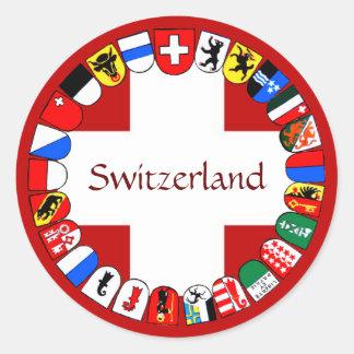 Swiss cantons classic round sticker