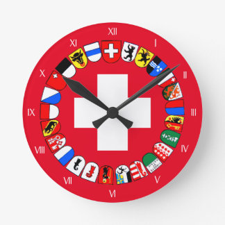 Swiss cantons coat of arms round clock