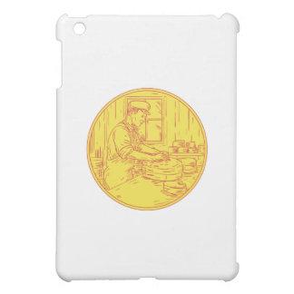 Swiss Cheesemaker Traditional Cheese Circle Drawin iPad Mini Covers
