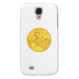 Swiss Cheesemaker Traditional Cheese Circle Drawin Samsung Galaxy S4 Covers