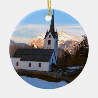 Swiss church in the mountains round ceramic decoration