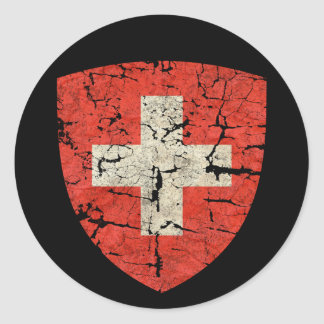 Swiss Coat of Arms, Distressed Classic Round Sticker