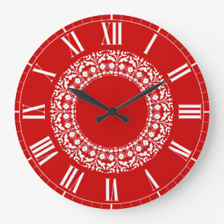 Swiss Country Red and White Elegant Kitchen Clock