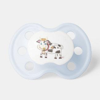 Swiss cow baby boy blue pacifier