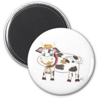 Swiss cow round magnet