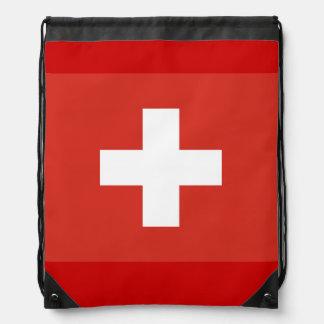 Swiss cross flag drawstring bag | Red and white