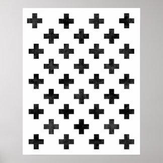 Swiss cross pattern art print Modern minimalist