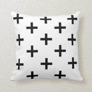 Swiss cross pattern black and white throw pillow