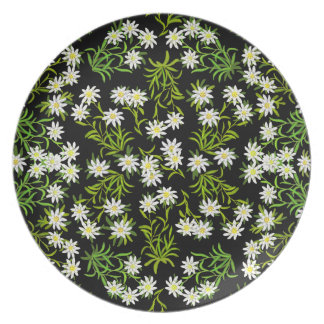 Swiss Edelweiss Floral Plate