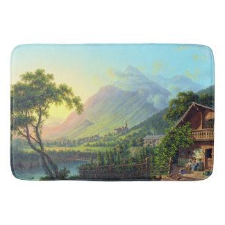 Swiss Farmhouse Alps Mountains Lake Bath Mat
