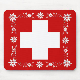 Swiss flag and edelweiss 2 mouse pad