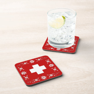 Swiss flag and edelweiss coaster