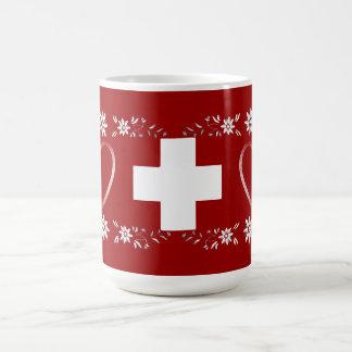 Swiss flag and edelweiss coffee mug