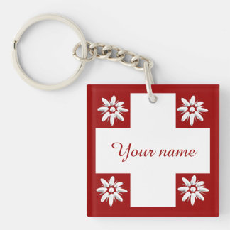 Swiss flag and edelweiss Double-Sided square acrylic key ring