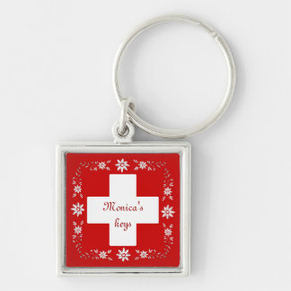 Swiss flag and edelweiss key ring