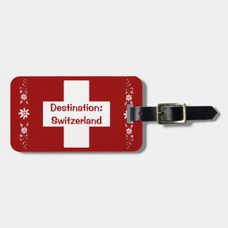 Swiss flag and edelweiss luggage tag