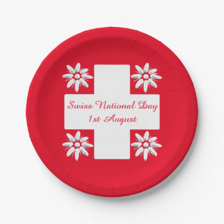 Swiss flag and edelweiss paper plate