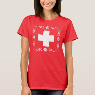 Swiss flag and edelweiss T-Shirt
