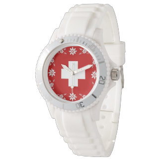 Swiss flag and edelweiss wrist watches