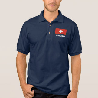 Swiss flag custom polo shirts for men and women