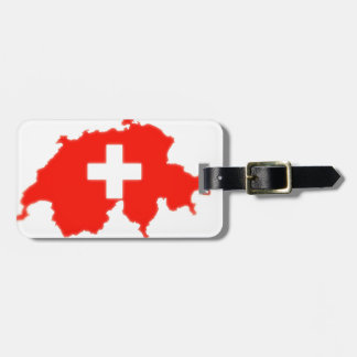 Swiss flag map luggage tag