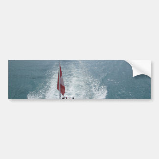 Swiss flag on a cruise ship on Lake Thun Bumper Stickers