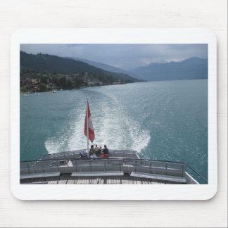 Swiss flag on a cruise ship on Lake Thun Mousepads