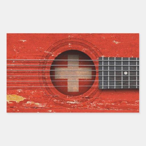 Swiss Flag on Old Acoustic Guitar Rectangular Sticker
