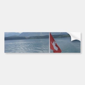 Swiss flag on the rear section of a cruise ship bumper sticker
