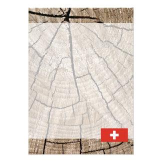 Swiss flag on tree bark 13 cm x 18 cm invitation card