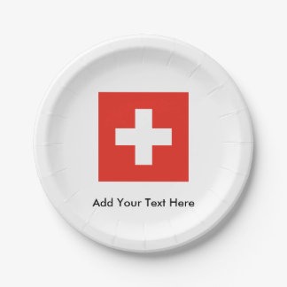Swiss Flag Paper Plate