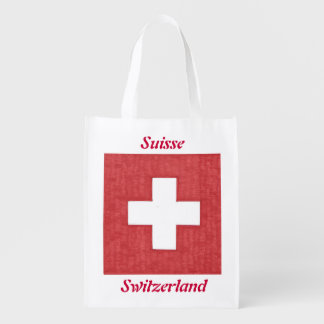 Swiss flag reusable grocery bag