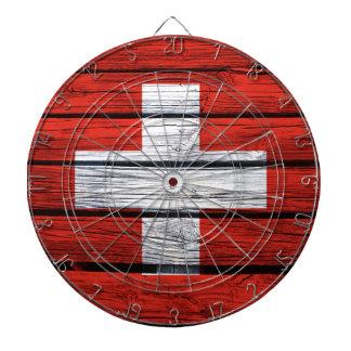 Swiss Flag Rustic Wood Bag Dartboard