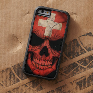 Swiss Flag Skull on Black Tough Xtreme iPhone 6 Case