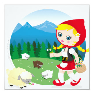 Swiss girl 13 cm x 13 cm square invitation card