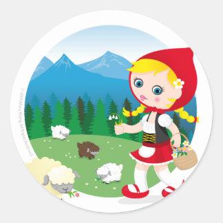 Swiss girl round stickers