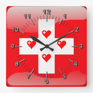 Swiss glossy flag square wall clock