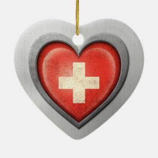 Swiss Heart Flag Stainless Steel Effect Ceramic Heart Decoration