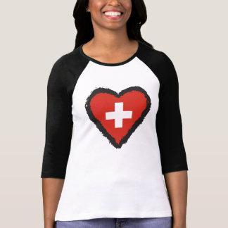 Swiss Heart - I Love Switzerland Raglan T-Shirt. T-Shirt