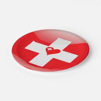 Swiss heart paper plate
