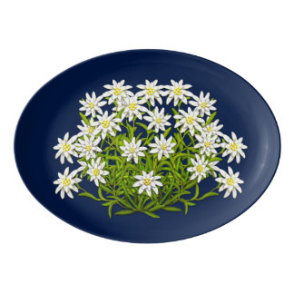 Swiss Mountain Edelweiss Flowers Porcelain Platter Porcelain Serving Platter