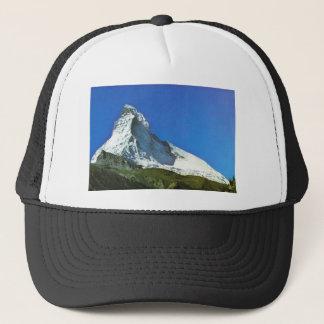 Swiss mountain scene trucker hat