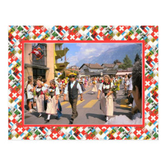Swiss Nation Day Parade, Interlaken Postcard