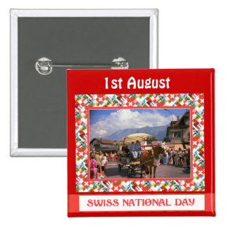 Swiss National Day, 1st August, Pinback Button