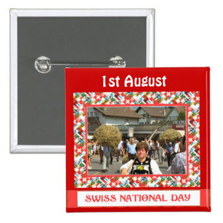 Swiss National Day, 1st August, Pinback Buttons