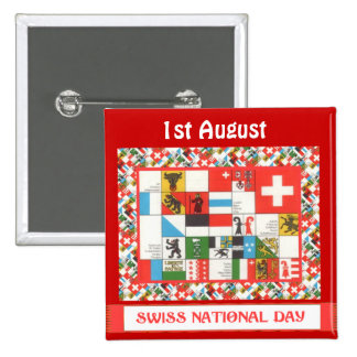 Swiss National Day 1st August Buttons
